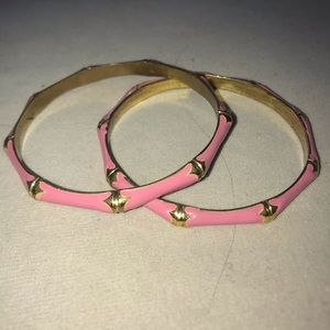 "Jewelry - Two Preppy Pink Bangle Bracelets ""bamboo"" style"